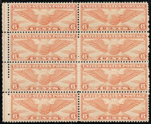 Doyle's_Stamps: MNH 1934 Globe & Wings 6c Airmail Block of 8 Stamps, Sct #C19**