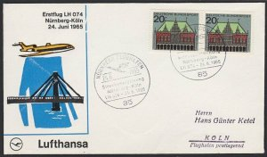 GERMANY 1965 Lufthansa first flight cover to Nurnberg to Koln...............H276