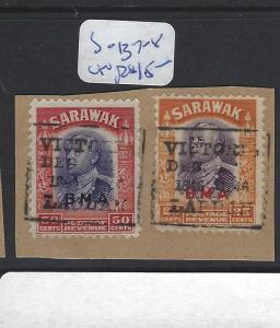 SARAWAK  (P2010B)  BOX LABUAN CANCEL 25c+50 C     SG 137-8    PIECE      VFU