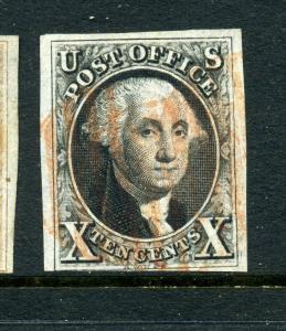 Scott #2 Washington Imperf Used Stamp Stick Pin Variety Cat $3000 (Stock #2-37)