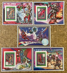 Stamps Deluxes blocs + S/S Olympic Games Calgary 88 Comores Imperf.