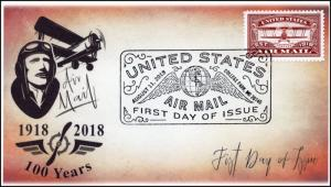 18-207, 2018, Airmail, Red, First Day Cover, Pictorial Postmark, 100 Years