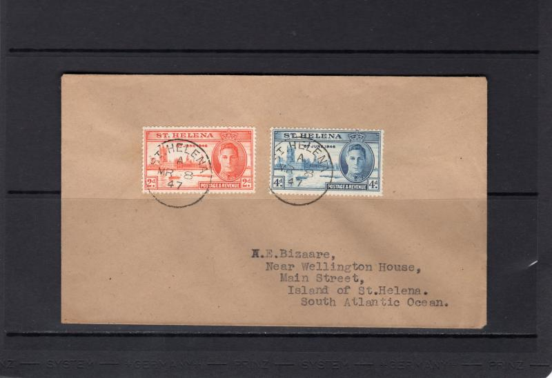 St Helena Sc#128-129 Victory/Peace Set (2) Cover Postal History