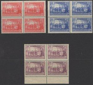 AUSTRALIA SG193/5 1937 NEW SOUTH WALES BLOCKS OF 4 MNH