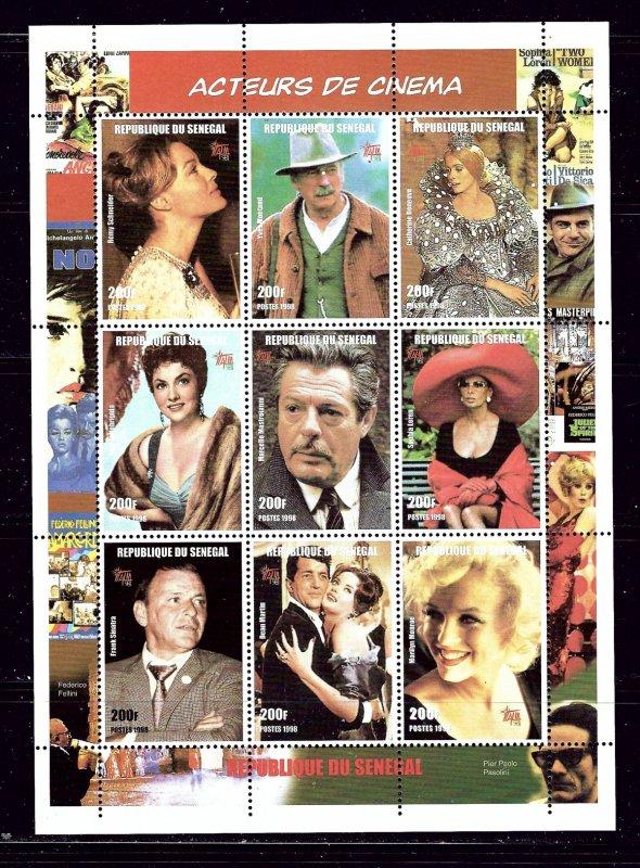 Senegal 1347 MNH 1999 Actors and Actresses sheet of 9