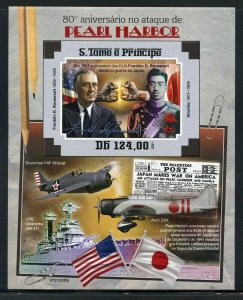 SAO TOME 2021 80th ANN PEARL HARBOR ATTACK FDR IMPERF S/SHEET MINT NEVER HINGED
