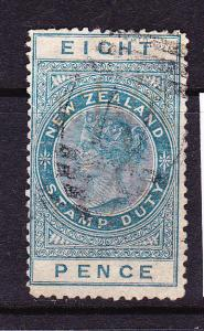 NEW ZEALAND 1882 8d GREEN QV FISCAL POSTAL CANCEL SG F7