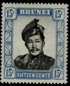 BRUNEI QEII SG108, 15c black & pale blue, LH MINT.