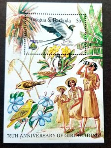 Antigua & Barbuda 75th Anniv Girl Guides 1985 Bird Scout Scouting Flower (ms MNH