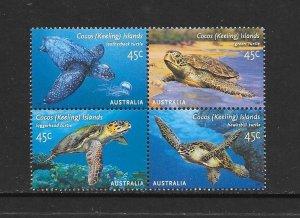 TURTLES - COCOS ISLANDS #336  (block 2)  MNH