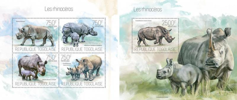 Rhinos Rhinozeros Rhinoceros Fauna Animals Togo MNH stamp set