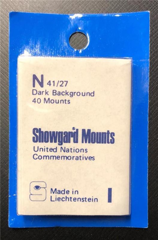 Stamp Mounts Supplies Showgard New 40 mounts 41mm by 25mm Black back Precut