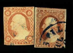 11 (2) Used F-VF Blue Cancels Cat$32