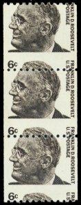 1298, Mint NH Misperfed Error 6¢ FDR Coil Strip of Three - Stuart Katz