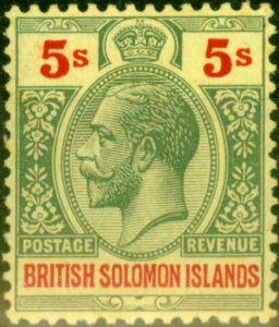 Solomon Islands 1927 5s Green & Red-Pale Yellow SG51 Superb MNH