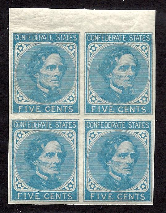 CSA 7 Mint,OG,NH... Block of 4... SCV $100.00 (for hinged, add for being NH)