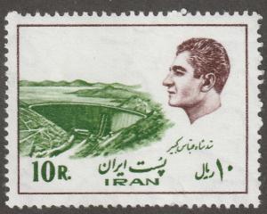 Persian stamp, Scott# 1839, used, 10R, frame/Shah in brown, Kabir damn