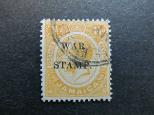 A4P21F14 Jamaica 1917 optd War Stamp 1 1/2d used