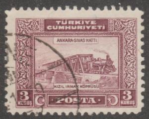 Turkey stamp,Scott# 678-, used, train, bridge, purple,  #M570