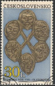 CZECHOSLOVAKIA 1647, 30h ORNAMENT WITH 6 MASKS.USED.  F. (3)
