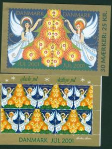 Denmark.  Booklet  2001.  With 30 Christmas Seals  Mnh. Angels,Christmas Tree.