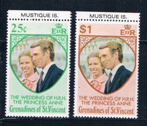 St Vincent - Grenadines 1-2 MNH set Prin Ann wed Mustique Is 1973 (S0910)