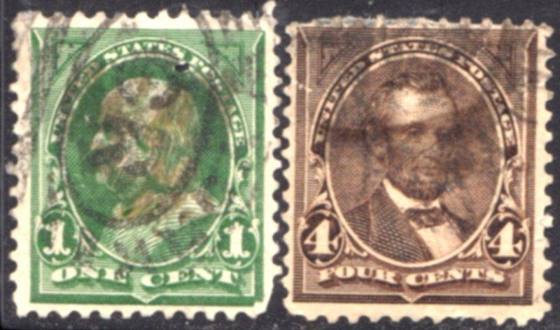 US Scott #279//280 - Regular Issue 1897-1903 Perf 12 w/ #191 Water Marks CV~$5