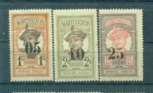 Martinique sc# 105-107 mh cat value $6.50