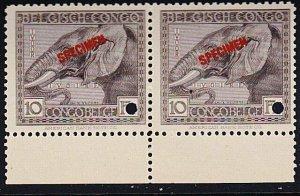 BELGIAN CONGO 1923 10f Elephant SPECIMEN opt pair + security punch hole ....7922