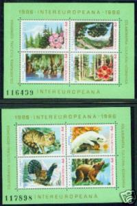 Romania Scott 3343-4 MNH** 1986 Flaura & Fauna sheets