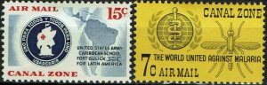 CANAL ZONE #C32-33 1961 15c AND 7c AIR MAIL ISSUES-MINT-OG/VLH