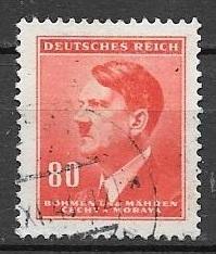 Bohemia 1942 80h Hitler, Scott #67, used