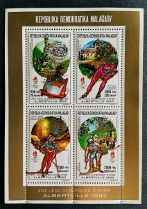 Mini Sheet Stamps Gold Overprint O.G Albertville 92/ Madagascar 90 PERF.