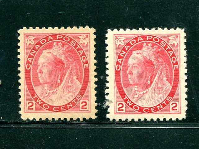Canada # 77  Superb Jumbo, 77a XF both mint very lightly hinged