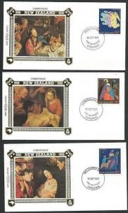 NEW ZEALAND 1985 Christmas Benham Silk set of 3 FDCs.......................60648