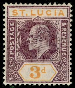 ST. LUCIA SG61, 3d dull purple & yellow, M MINT.