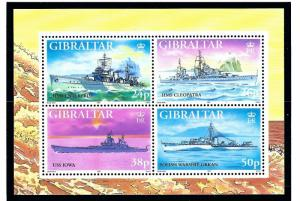 Gibraltar 732 MNH 1997 WWII Warships sheet of 4