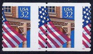 2913 - Misperf Error / EFO Flag Over Porch FOP Pair Mint NH (Stk1)