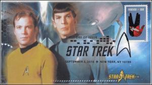 2016, Star Trek, 50 years, Pictorial, Postmark, FDC, 16-258
