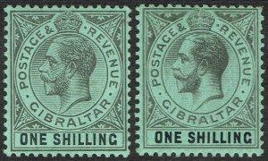 GIBRALTAR 1912 KGV 1/- 2 SHADES WMK MULTI CROWN CA