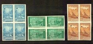 RRR Uruguay 1947 Cervantes Quixote Waterlow error unissued block of 4 horse bird