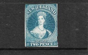 NEW ZEALAND 1862-64  2d   DEEP BLUE    FFQ  IMPERF MNG  CP A2D2  SG 36 CHALON