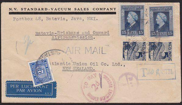 NETHERLANDS INDIES 1947 airmail cover to NEW ZEALAND with 2d postage due....1893