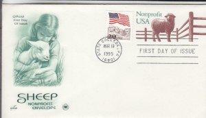 1995, Sheep Non-Profit Printed Envelope, Artcraft/PCS, FDC (E8184)