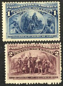 US  #230 - 231 1c and 2c Columbians, F/VF mint hinged, super fresh colors,  w...