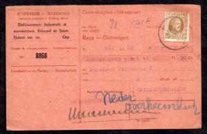 Belgium 1926 50c & Revenue on Receipt Card WS12819