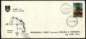 GILBERT & ELLICE IS 1975 First flight cover Tarawa to nonouti..............94442