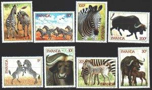 Rwanda. 1984. 1283-90. Zebras, buffaloes, fauna. MNH.