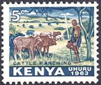 Kenya # 1 mnh ~ 5¢ Cattle Ranching