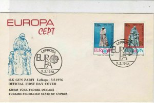 Turkish Federated Cyprus 1976 Europa CEPT Cancels FDC Stamps Cover Ref 23568